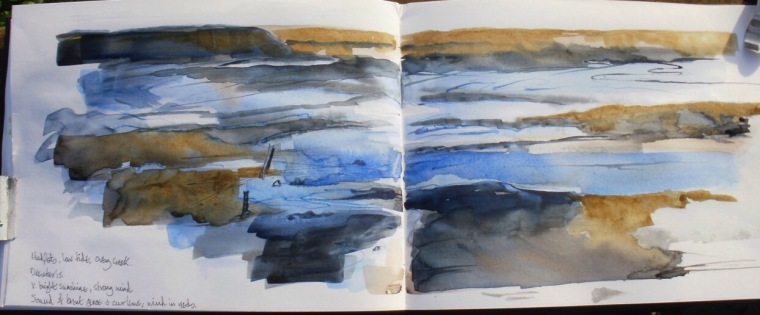 Mudflats, low tide, Overy creek. Sketchbook, Mari French 2015