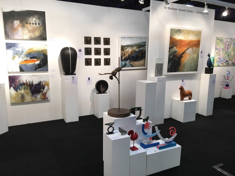 Sheridan Russell stand at Affordable Art Fair, Battersea.