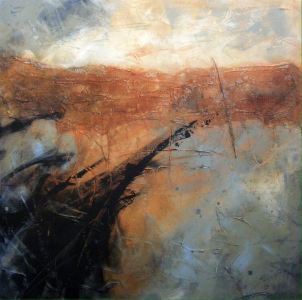 Strandline. Acrylic/mixed-media on canvas. 100x100cm. Sold at Battersea Affordable Art Fair 2016.