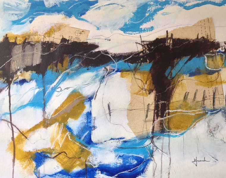 Pools of light, mixed-media on paper, © Mari French 2016
