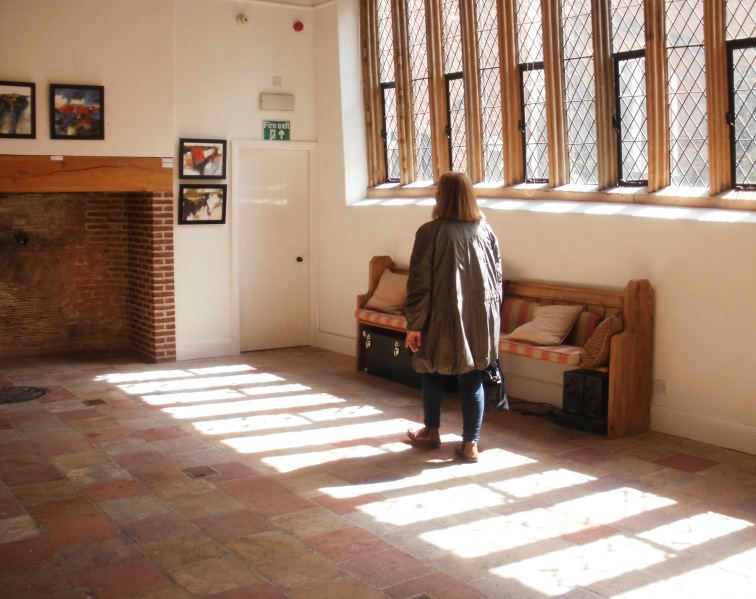 Sunlight pouring into the Main Gallery, Breathing Space exhibition, Anteros Arts Foundation. © Mari French 2016