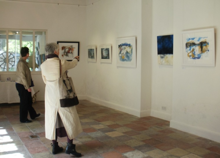 Visitors at Mari French's Breathing Space exhibition, Anteros Arts Foundation, Norwich.