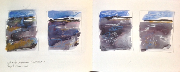 Sea lavender saltmarsh, sketchbook spread.