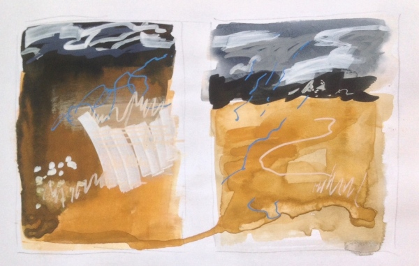Stormy skies & stubble field � Mari French 2016