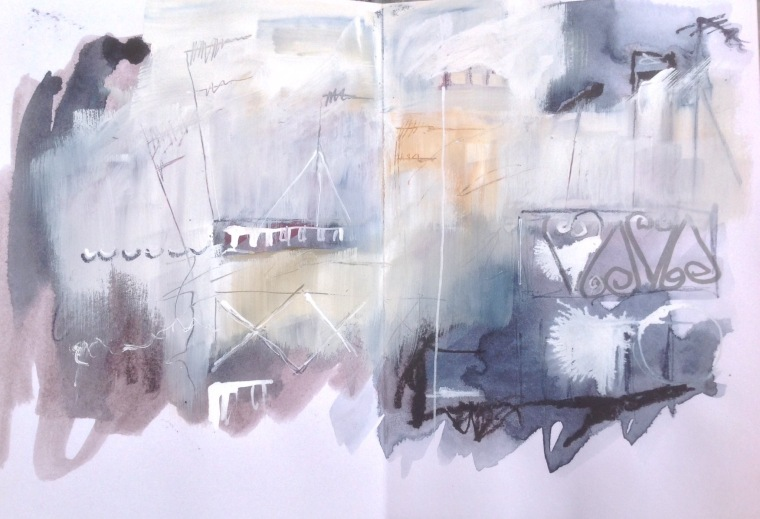 Rooftops abstract. Sketchbook spread. © Mari French 2016