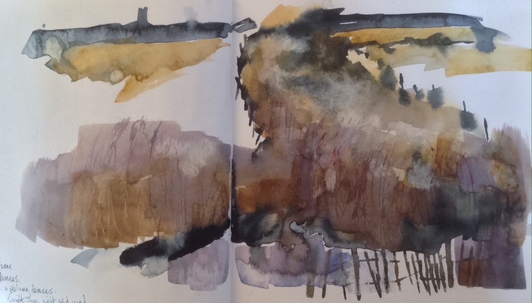 Reedbeds, Thornham. Sketchbook spread © Mari French 2016