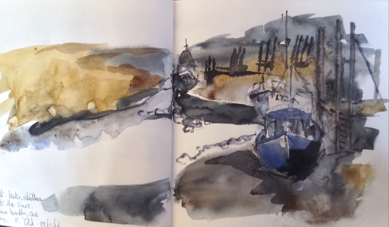 Boats on the creek, Thornham. Sketchbook spread © Mari French 2016