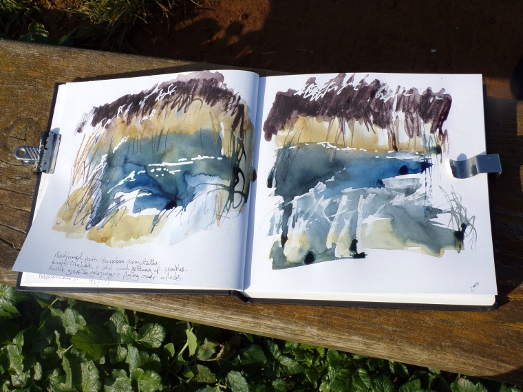 Reed-fringed pool, sketchbook spread. © Mari French 2017