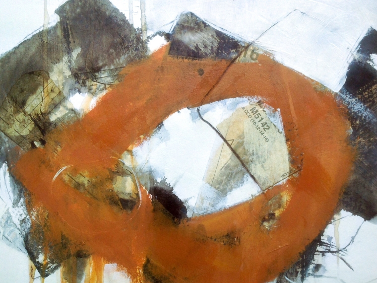Rusted artefact 2, mixedmedia on paper. © Mari French 2017.