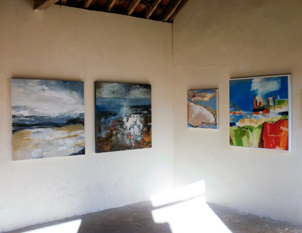 Work by Tracey Ross (left) and Anne Allanson at 'Painters' exhibition, Black Barn, Cockley Cley, 2017.