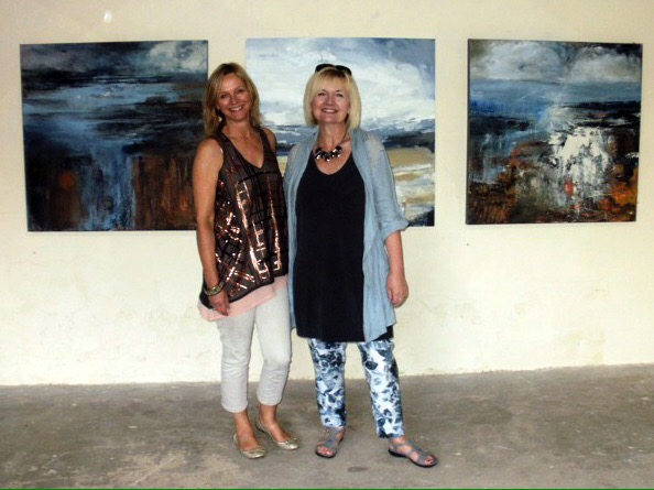 Mari French and Tracey Ross at 'Painters' exhibition, Black Barn, Cockley Cley, 2017.
