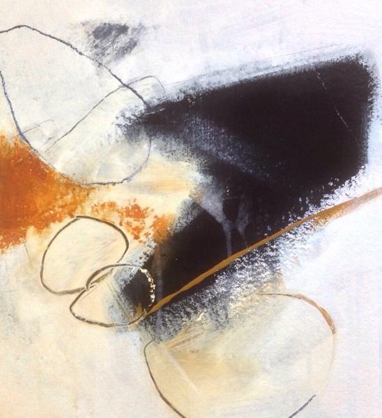 Coastal erosion abstract, acrylics on paper, 18x18cm. © Mari French 2018