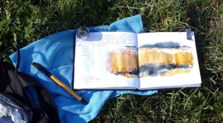 Sketching reedbeds in spring sunshine. © Mari French 2018