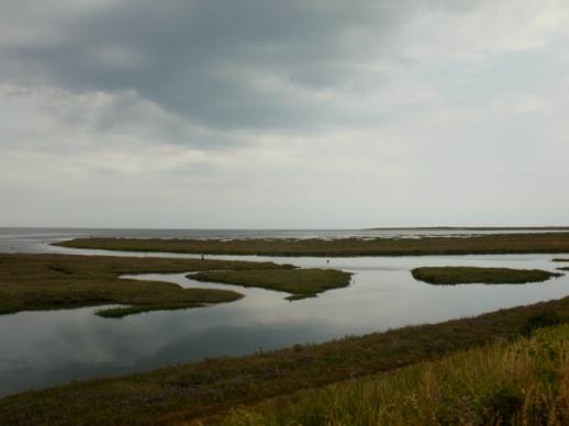 Dark skies, high tide, Thornham Creek, North Norfolk. © Mari French 2018