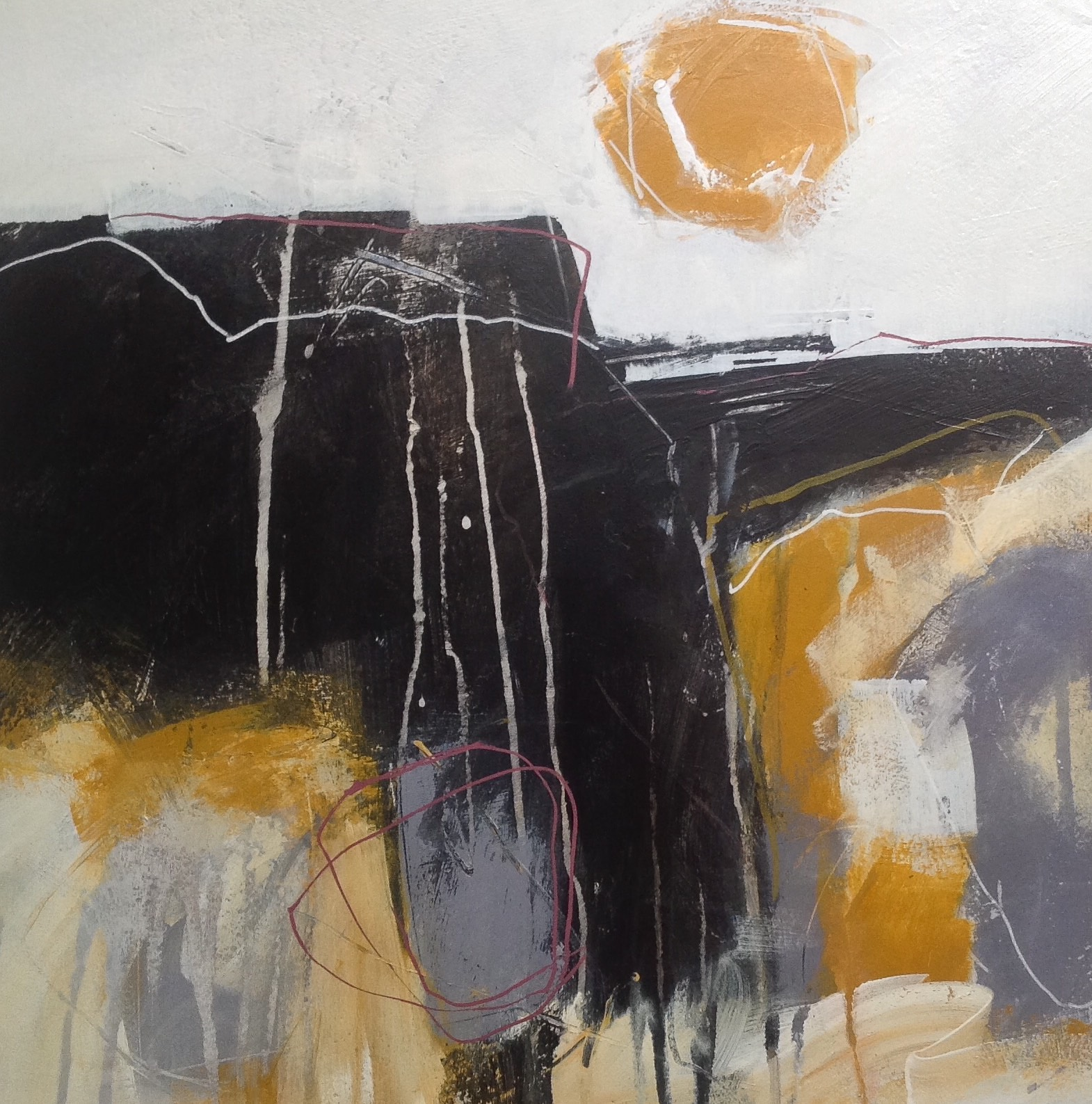 Hot summer sun. Abstract landscape in mixed media on watercolour board by contemporary artist Mari French.
