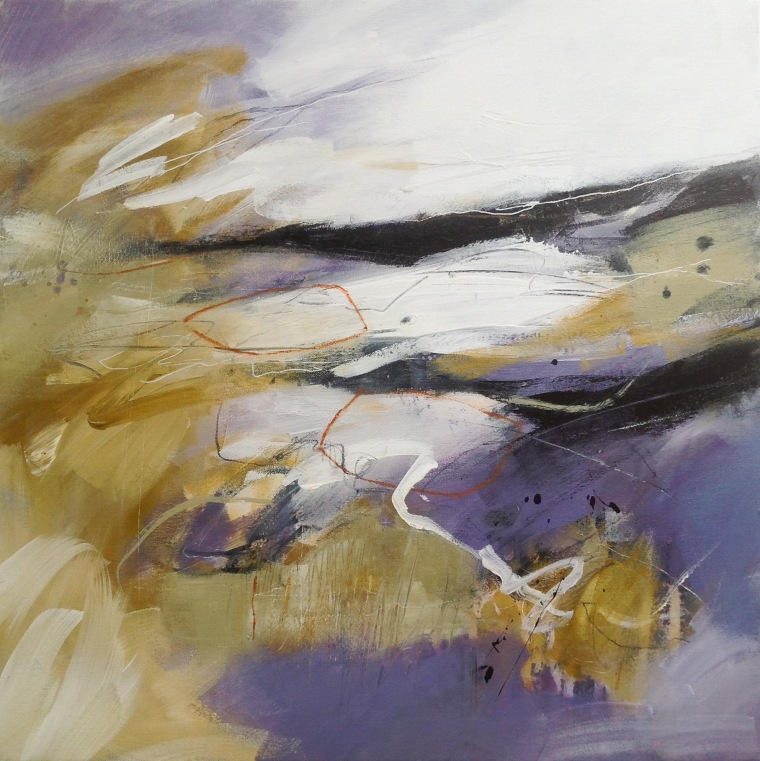 North Norfolk salt marsh with sea lavender. Abstract landscape in mixed media painting on canvas © Mari French 2018