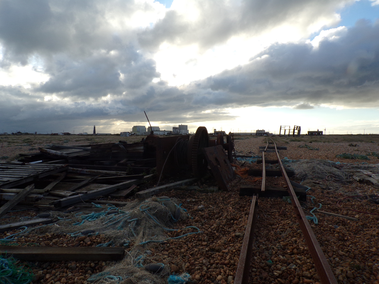 Remnants & power station under a stormy sky, Dungeness. Photograph © Mari French 2018