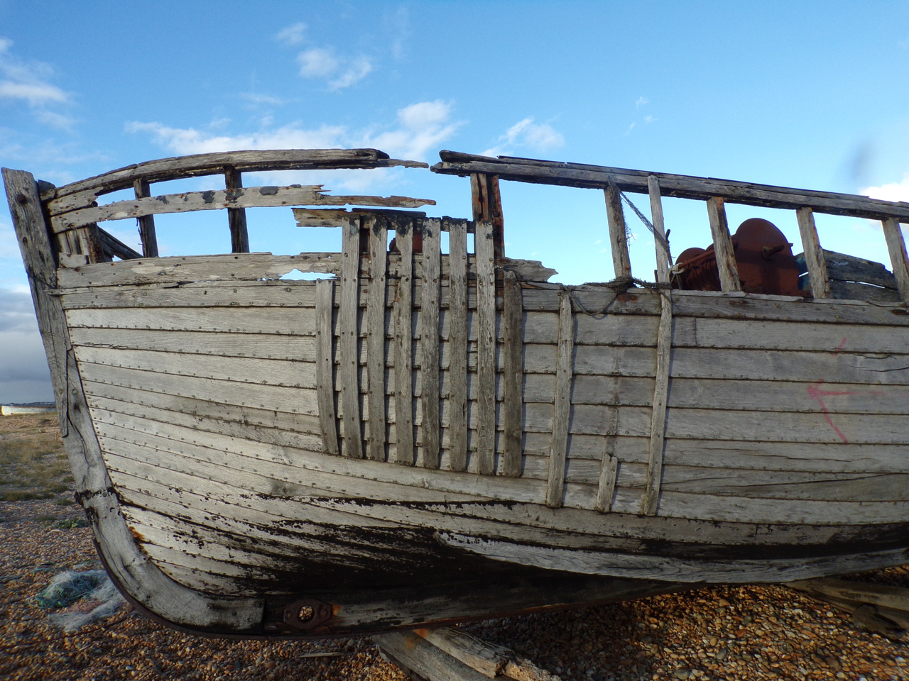 Photo of old fishing boat, Dungeness. © Mari French 2018