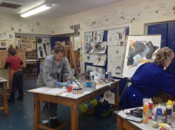 Karen Stamper busy on the workshop