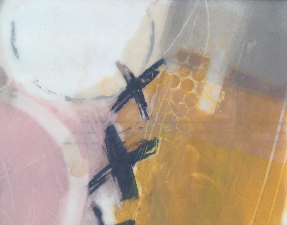 Reed beds abstract. Mixed media on DuraLar © Mari French 2019