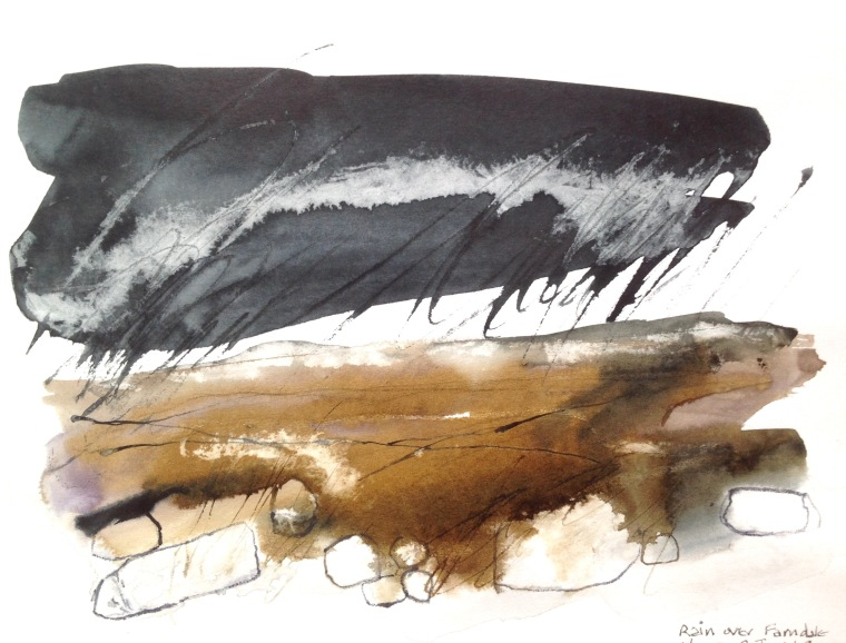 Abstract landscape sketch of moorland under rain, in ink and charcoal.
