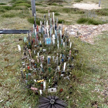 Creative use of waste plastic found on beaches, Dungeness. © Mari French 2019