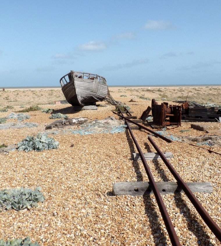 Dungeness boat and tracks. © Mari French 2019.