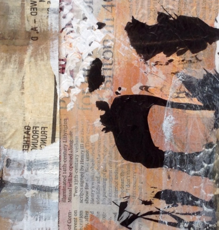 Collage and markmaking example, in a Seawhite Sketchbook.