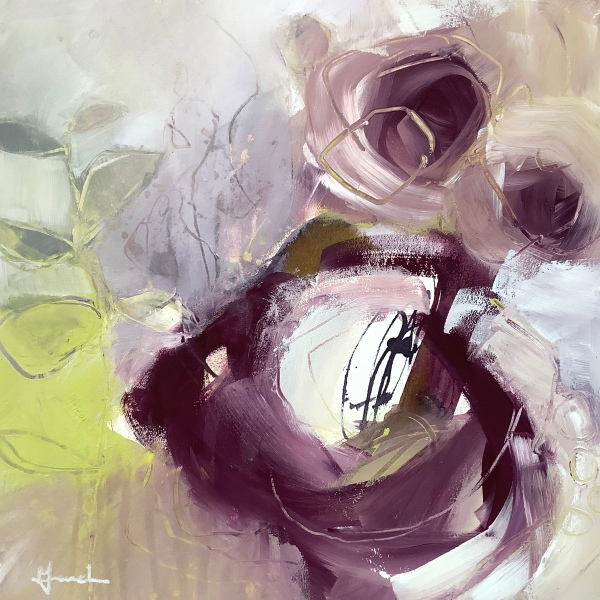 'Abundance', mixed media abstract painting on paper. © Mari French 2020.
