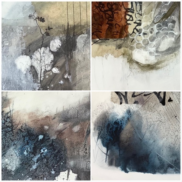 Group of details from collage artworks by Mari French contemporary artist.